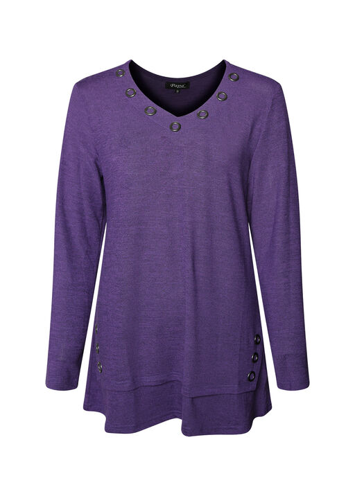 V Neck Melange Knit Tunic Top with Grommets, , original