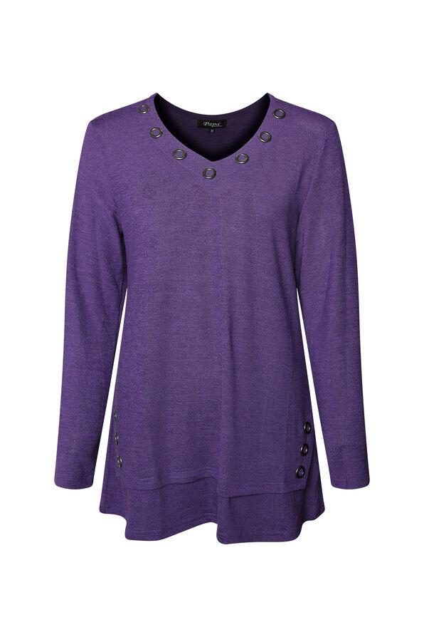 V Neck Melange Knit Tunic Top with Grommets, , original image number 0
