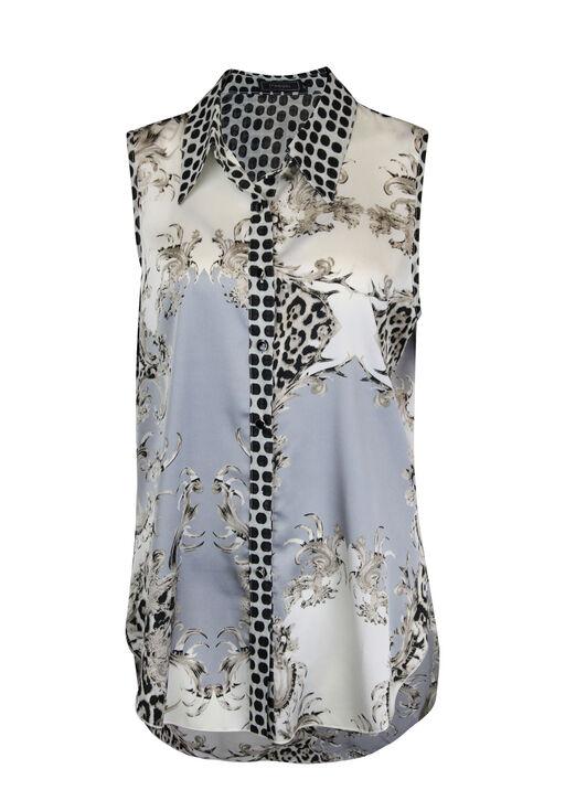 Mixed Print Sleeveless Button Up Tunic with Collar, Brown, original