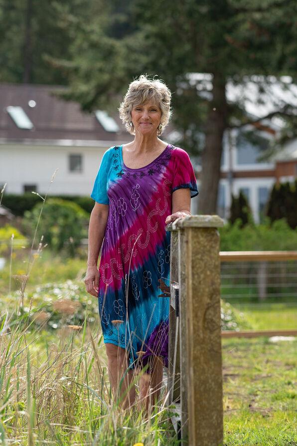 Short Sleeve Multi-Colour Tie Dye Swing Dress, Purple, original image number 0
