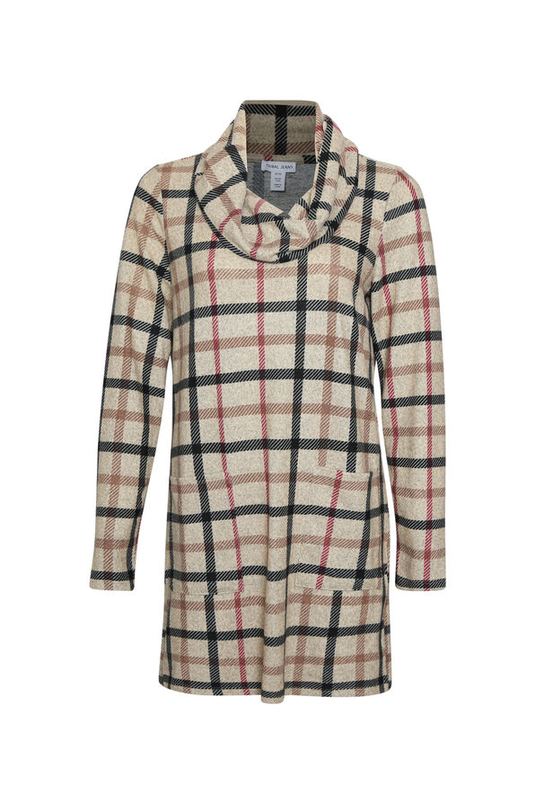 Plaid Tunic with Cowl Neck, Brown, original image number 0