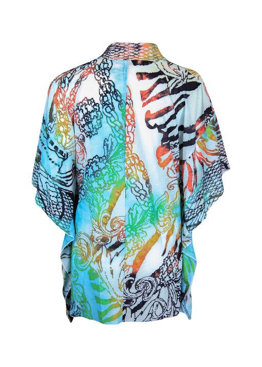 Drape Front Burnout Kimono, Turquoise, original
