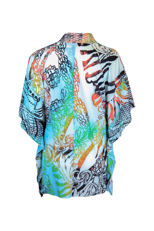 Drape Front Burnout Kimono, Turquoise, original image number 1