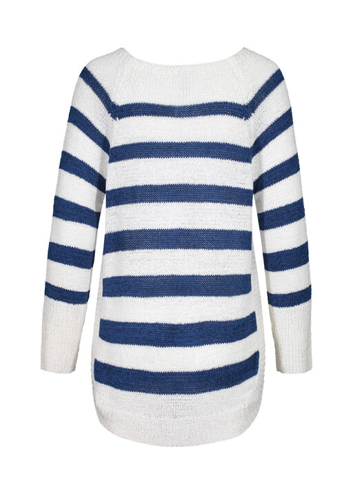 Striped Sweater with Crew Neck , Blue, original