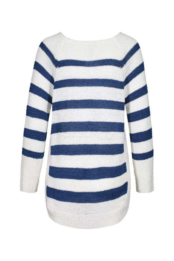 Striped Sweater with Crew Neck, Blue, original image number 3
