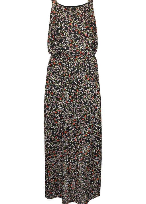 Floral Print Sleeveless Maxi Dress, Black, original
