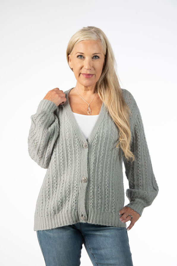 Pointelle Button Up Wool Cardigan, Blue, original image number 1