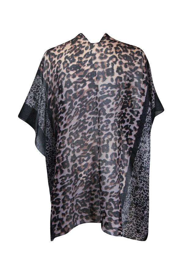 Leopard Print Kimono, Black, original image number 1