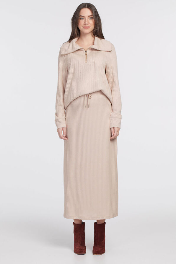 PULL ON MAXI SKIRT WITH SIDESLIT, Oatmeal, original image number 0