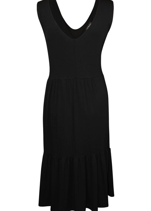 Sleeveless Tiered Midi Dress, Black, original