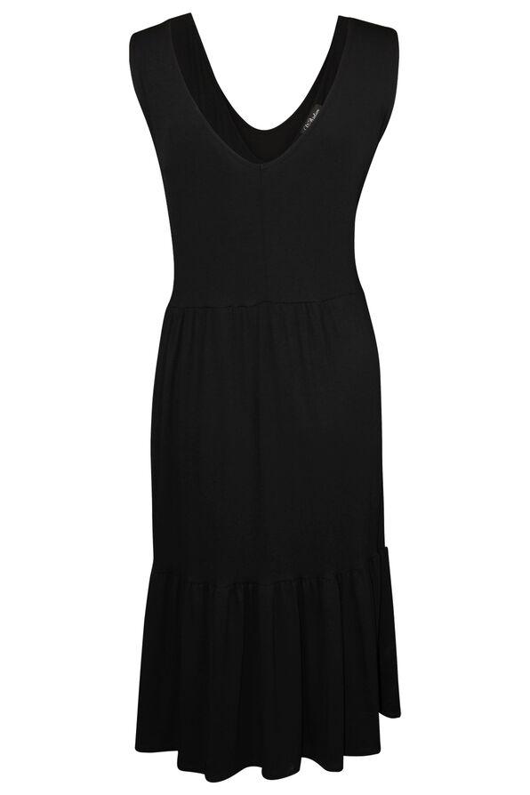 Sleeveless Tiered Midi Dress, Black, original image number 1