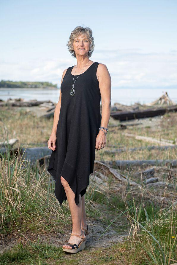 Sleeveless Cotton Midi Dress with Hankie Hem, , original image number 0