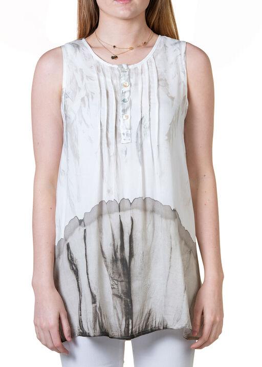 Sleeveless Tie Dye Top with Lace Yolk, Tan, original