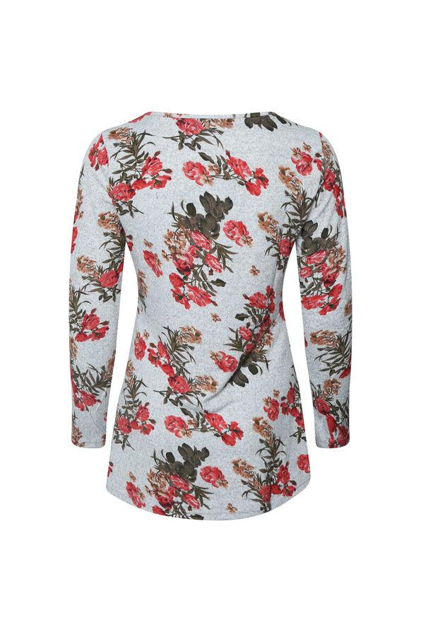 Knit Flower Print Top, Grey, original image number 1
