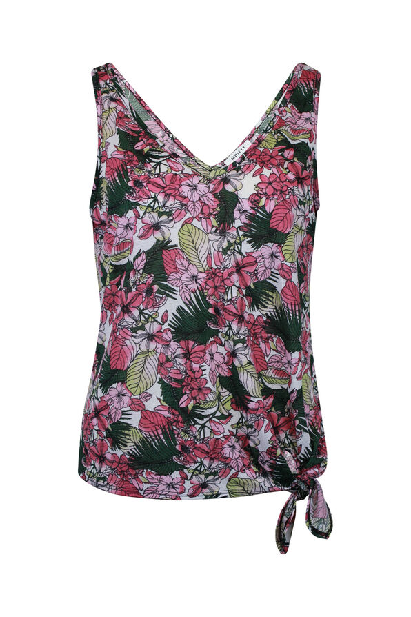 Tropical Print Tank Top with Front Knot, , original image number 1