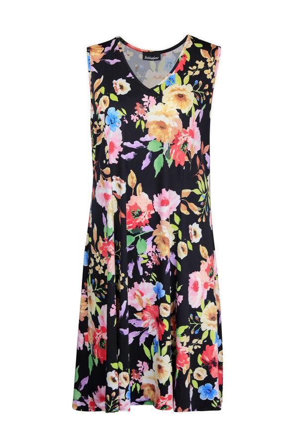 Sleeveless Floral Print Swing Dress, Black, original image number 0