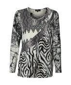 Mixed Animal Print Long Sleeve Top, Black, original image number 0