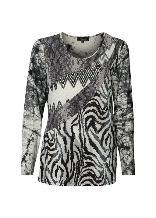 Mixed Animal Print Long Sleeve Top, Black, original