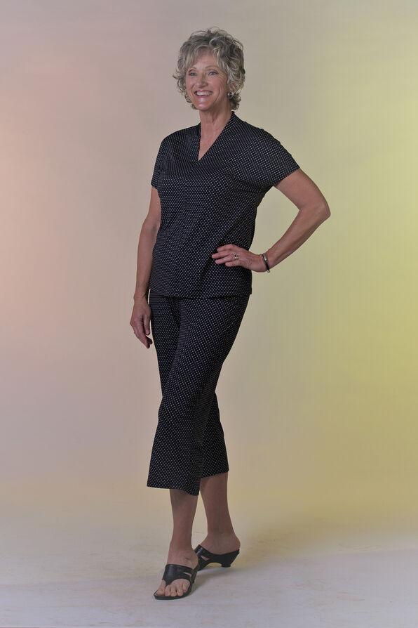 Polka Dot Funnel Neck Short Sleeve Top, Black, original image number 0