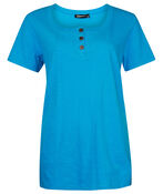 Cotton Short Sleeve T-Shirt with Coconut Buttons, , original image number 2
