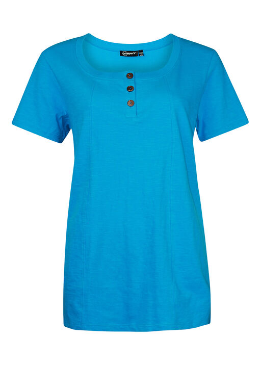 Cotton Short Sleeve T-Shirt with Coconut Buttons, Turquoise, original