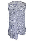 Sleeveless Stripe Top with Ruche and Asymmetrical Hem, Navy, original image number 1