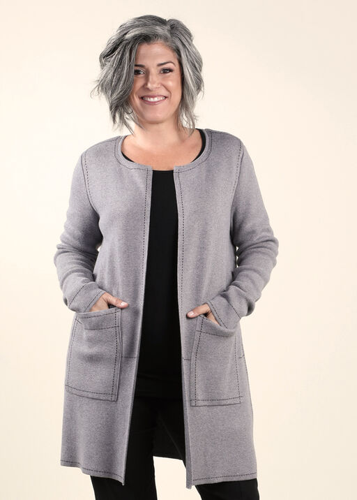 Sweater Coat with Long Sleeves, Grey, original