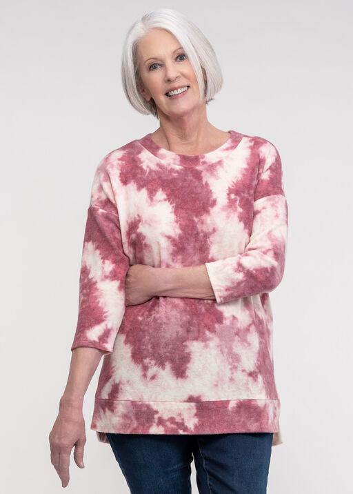 Fleece Tie Dye Long Sleeve Top, Pink, original