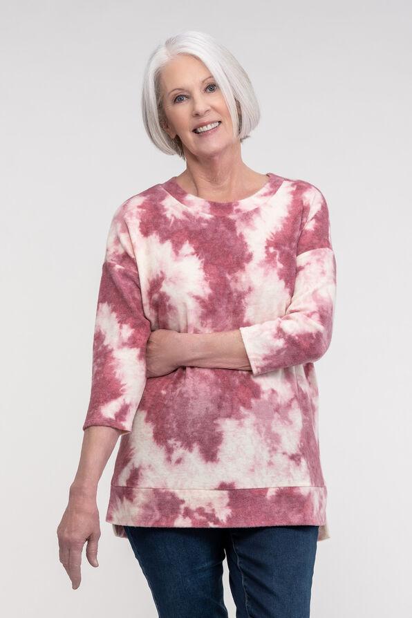 Fleece Tie Dye Long Sleeve Top, Pink, original image number 0