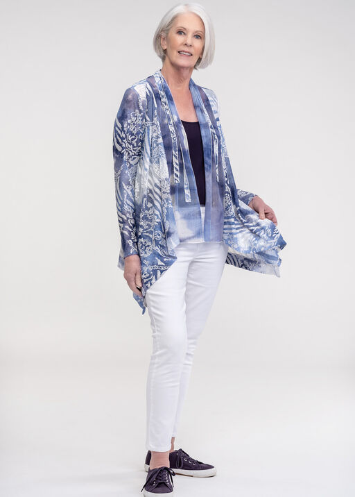 Burnout Drape Neck Cardigan with Border Applique, Blue, original