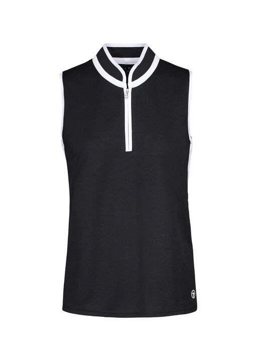Contrast Trim Sleeveless Golf Polo, Black, original