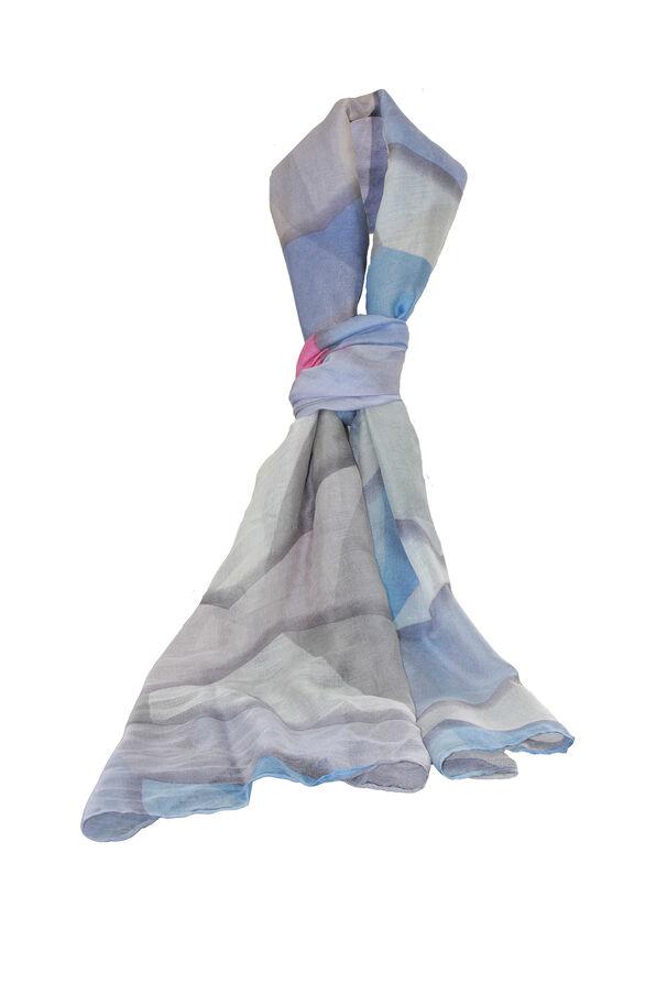 Pyramid Print Rectangle Scarf, Blue, original image number 0