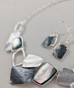 Stacked Necklace and Earrings Set, Grey, original image number 1
