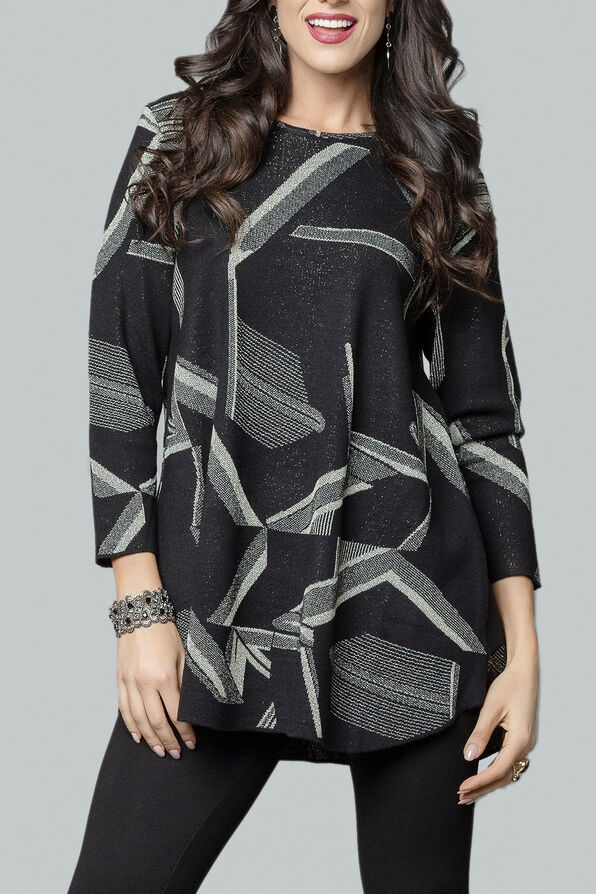 Gold Print Tunic with Crew Neck, Silver, original image number 2