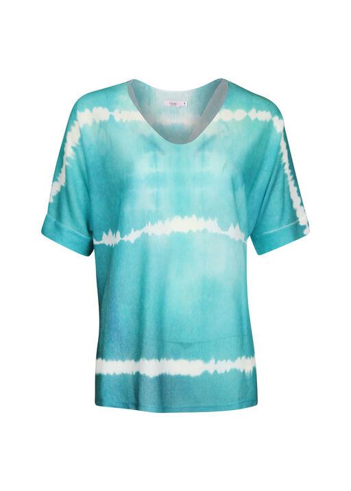 Short Sleeve Tie Dye V-Neck Sweater, , original