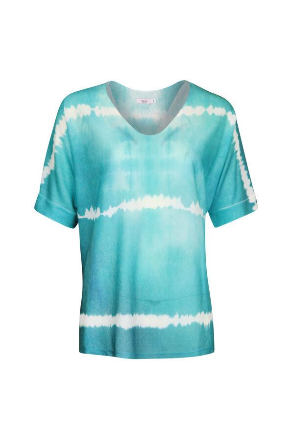 Short Sleeve Tie Dye V-Neck Sweater, , original image number 1