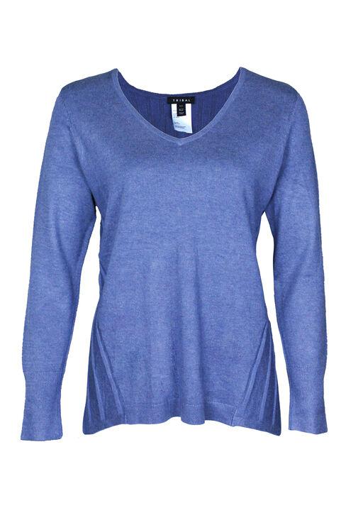 Raya Ribbed Back V-Neck Sweater, , original