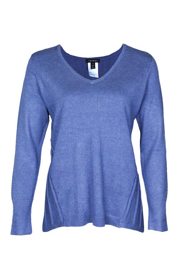 Raya Ribbed Back V-Neck Sweater, , original image number 1