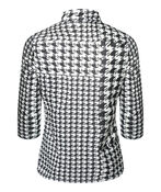 Houndstooth Mock Neck 3/4 Sleeve, Black, original image number 1