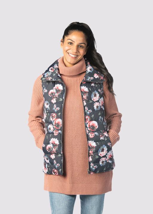 Spring Floral Puffer Vest, Black, original