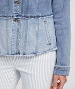 Fitted Denim Jacket with Cut Off Hem, Denim, original image number 1