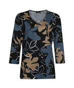 Autumn Leaves Top with Ruffle Sleeves, Black, original image number 0