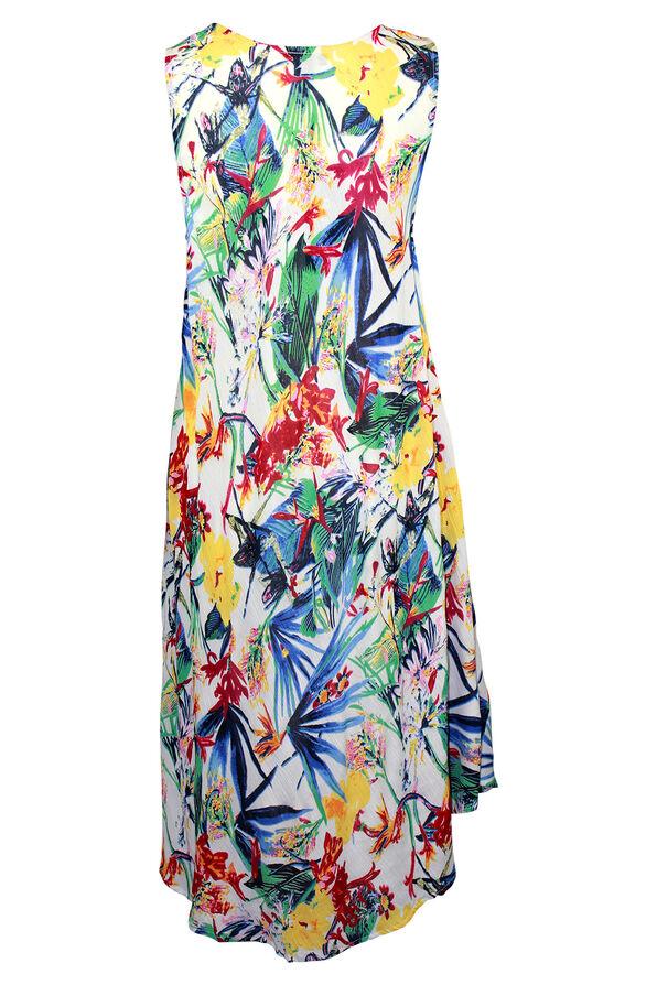 Sleeveless Printed Swing Dress, White, original image number 1