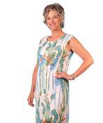 Cap Sleeve Printed Sheer Stripe Shift Dress, Aqua, original image number 0