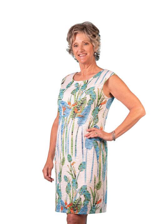 Cap Sleeve Printed Sheer Stripe Shift Dress, Aqua, original