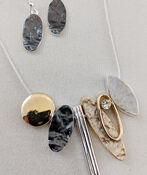 Oblong Statements Necklace and Earrings Set, Silver, original image number 2