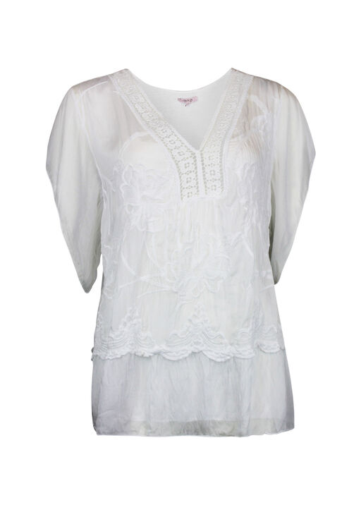 Short Sleeve Silk Embroidered Blouse , , original