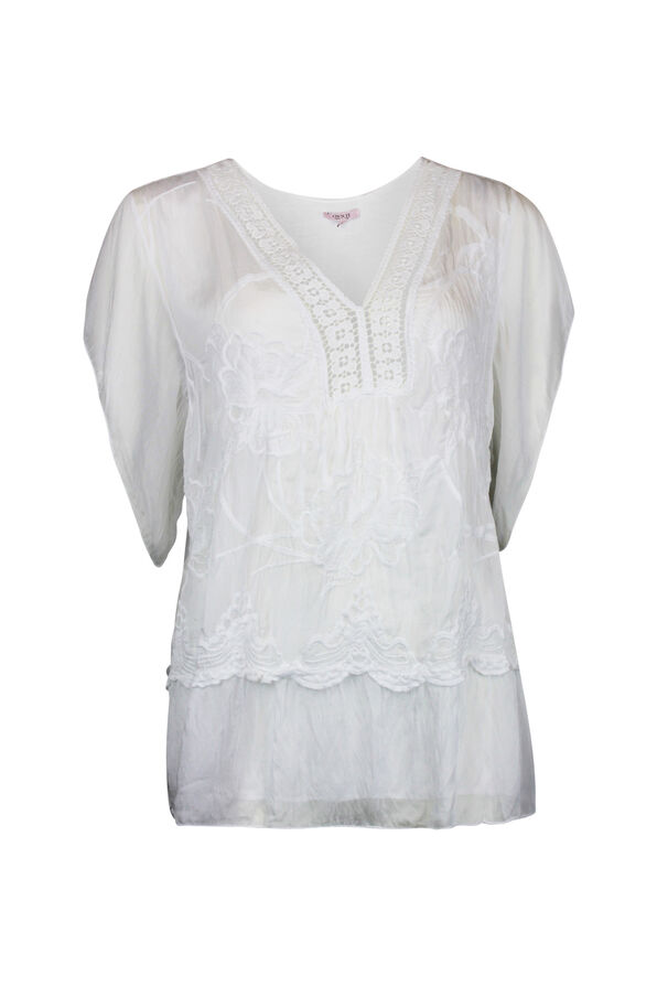 Short Sleeve Silk Embroidered Blouse , , original image number 1