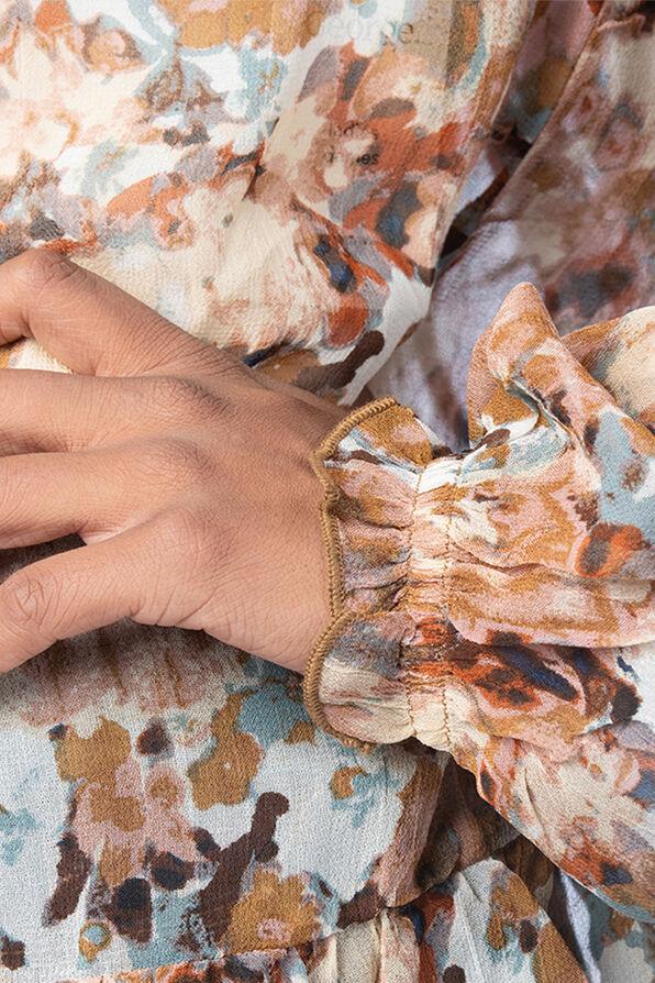 Tassle-Floral 70's Blouse, Brown, original image number 5