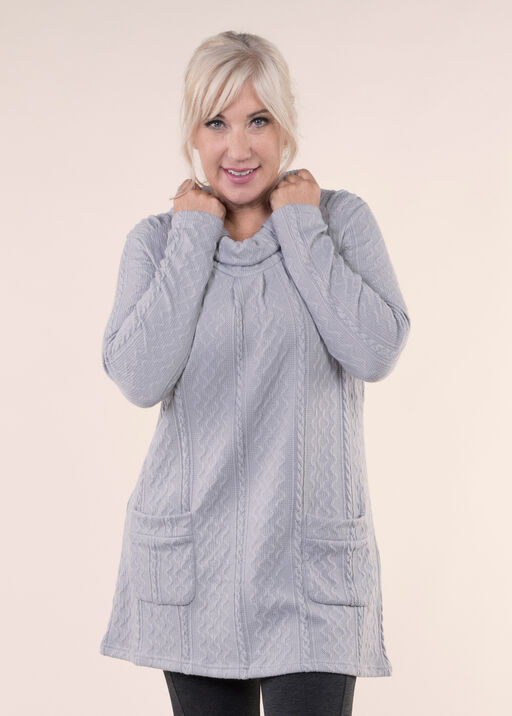 Tunic with Roll Tab Neck, Grey, original